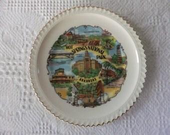 Vintage Plate Arkansas Souvenir Decorative Collector Hot Springs National Park State Travel Vacation Tourist Retro Road Trip
