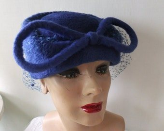 Vintage Hat Royal Blue with Bow and Netting Lecie Italy Designer Retro Accessories Winter Formal Ladies