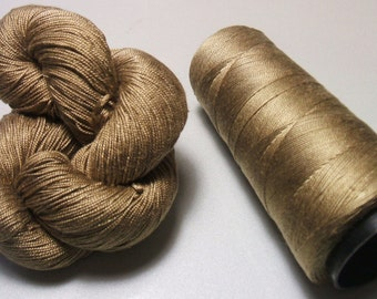 100% Pure Mulberry Queen Silk Yarn 50 gram 3-Ply Lace Weight Ash Brown QS266 Lot D - Cone or Hank