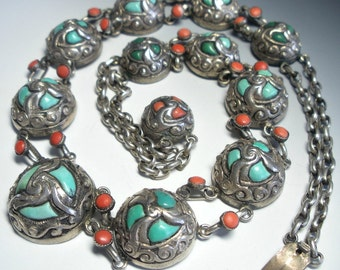 Chinese Coral Turquoise Silver Necklace