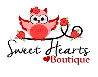 Premade Business Logo Design Owl on Floral Branch 93 Sweethearts Boutique