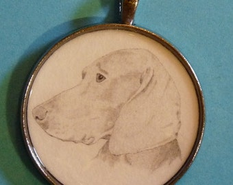 Weimaraner Original Pencil Drawing Pendant with Organza Pouch -Choice of Necklaces -Free Shipping- Desert Impressions