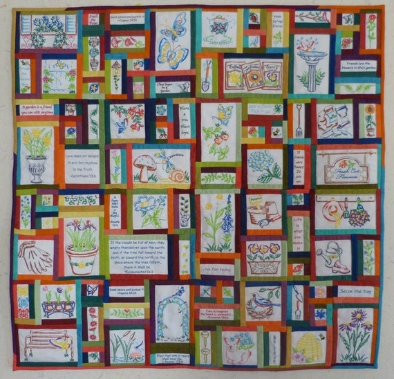 Prayer Garden Quilt Machine embroidery and painted blocks by Beaquilter