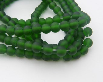 50 Dark green frosted glass beads 6mm B134