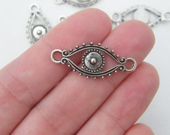 10 Evil eye connector charms antique silver tone I45