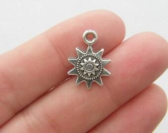 BULK 50 Sun charms antique silver tone S69