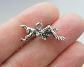 8 Grasshopper charms antique silver tone
