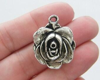 BULK 10 Rose pendants antique silver tone F62