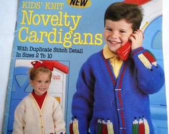 Kids Knit Novelty Cardigans Leisure Art Leaflet 2301