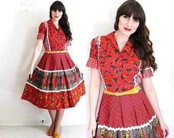 1950s Dress / 50s 60s Dress / 1960s Red Folk Country Patchwork Dress