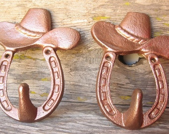 Cowboy Hat Wall Hook/ Horseshoe/ Nursery/ Country/ Western  /Painted in Hammered  Copper Cast Iron Hanger