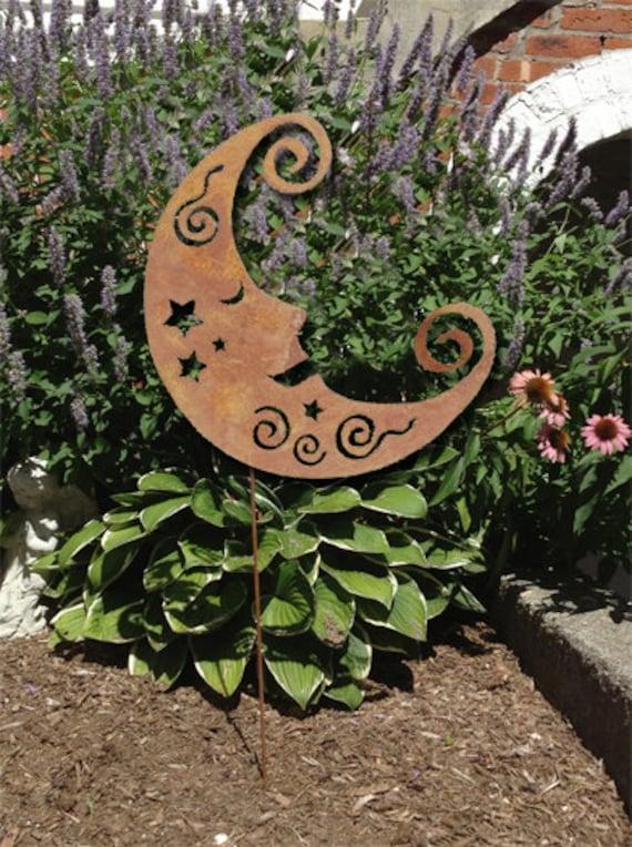 Moon Garden Stake / Garden Art / Garden Decor / Shadow / Cut Out / Metal / Moon / Silhouette / Rustic Moon / Lawn Ornament / Yard Decoration