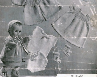 Doll Knitting PATTERN - Baby doll/Preemie baby Layette to Knit