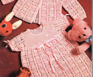 Baby Crochet Pattern - Baby Dress and Jacket Matinee - 3 ply 18- 19 in Vintage pattern Best Price
