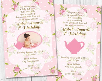 Shabby Chic Pink Tea Party Printable Invitations With or without picture