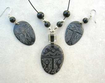Unusual Mexican Obsidian Mask Pendant & Earrings, Onyx, Glass and Silver Beads on Cord, Necklace Set by SandraDesigns