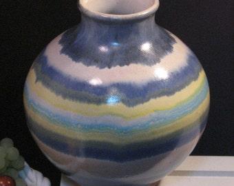Vintage Pacific Stoneware Blue Ringed Vase Signed B Welsh, 1970s Mid Century Art Pottery, Pacific Northwest College Arts, Decorative Vase