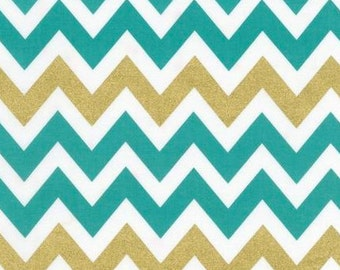 Remix Metallic Chevron by Ann Kelle for Robert Kaufman Fabrics, Metallic Kale 1/2 yd total