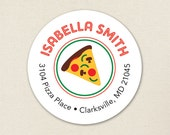 Pizza Party - Personalized address labels - Sheet of 24