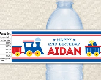 Train Birthday Party Water Labels - 100% waterproof personalized water bottle labels