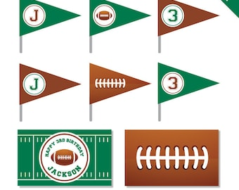 Football Party - Personalized DIY printable straw flags and napkin rings