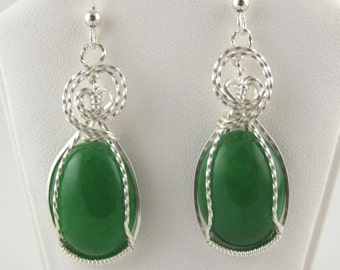 WSE-0062 Malaysia Jade Handmade Earring Wire Wrapped with .925 Sterling Silver Wire