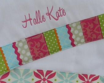 Personalized monogram girl burp cloth set, baby shower gift