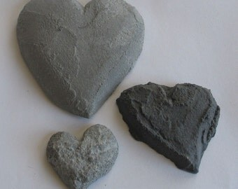 Family of Three Black and Gray Concrete Hearts