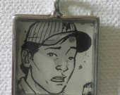 The Walking Dead Glenn Genuine Comic Book Bezel Charms Jewelry Handmade -Key-chain Pendant
