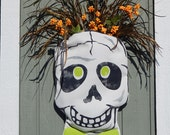 "Door decor Halloween fall outdoor skull with pocket skeleton weather resistant autumn 11""x18"" Crabby Chris Original design"