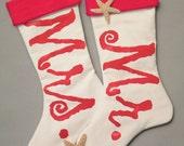 "MR. and MRS. STOCKING pair 24"" (61cm) newlywed husband wife wedding marriage engagement Crabby Chris Original"