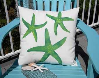 "Outdoor pillow CHOOSE YOUR COLOR starfish sea star 20"" (50cm) seashore hand painted beach coastal indoor outdoor Crabby Chris Original"