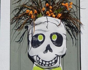 """Door decor Halloween fall outdoor skull with pocket skeleton weather resistant autumn 11""""x18"""" Crabby Chris Original design"""
