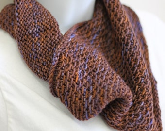 Unisex knitted cowl (chocolate brown, blue, orange)