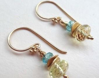 Yellow and aqua earrings, gemstone stack earrings, lemon quartz earrings, aqua apatite earrings, lemon quartz stack, apatite stack, handmade