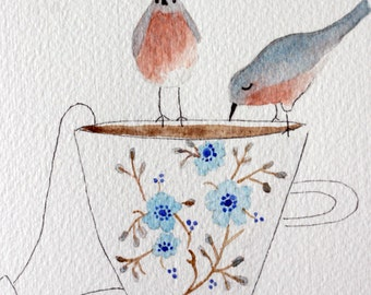 Tea cup and birds original watercolor, friends, love of tea, birds drinking, blues, kitchen art, dining room art