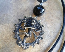 Dancing Shiva Pendant Dancing Nataraja  Hindu Goddess Doula Gift Midwife Gift  Tribal Inspired  BOHO Necklace  Bohemian  Goddess  Black Onyx