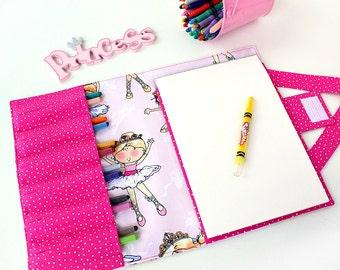 Ballet Princess Crayon Artist Case, Ready To Ship, Crayon organizer, Coloring wallet, Crayon and paper holder, Crayon bag for kids