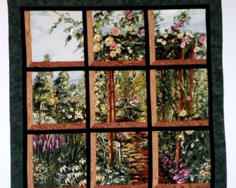 Fabric Wall Hanging - Attic Window of Rose Arbor Park Path with Flowers