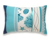 Turquoise Teal Duck Egg Blue White Lumbar Pillow Case 12 x 18 in IRMA DESIGN Marine Print