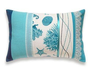 Turquoise Teal Duck Egg Blue White Lumbar Pillow Case 12 x 18 in IRMA DESIGN Marine Print