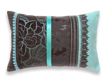 Turquoise Blue Dark Chocolate Brown Lumbar Pillow Case 12 x 18 in IRMA DESIGN Limited Edition