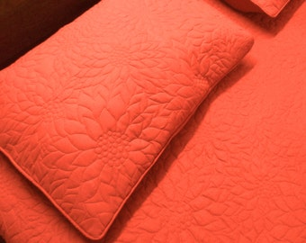 Quilting Gifts for Woman-Bed Coverlet Set-Giant Throw Blanket-Coral Boho Gifts-CoralBedroom Decor-King size Quilts-Queen Size Quilts-Pattern