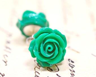 Emerald Green Rose Earrings, Green Stud Earrings, Flower Earrings, Retro Jewelry, Cottage Chic Vintage Style Jewelry - The Rosie