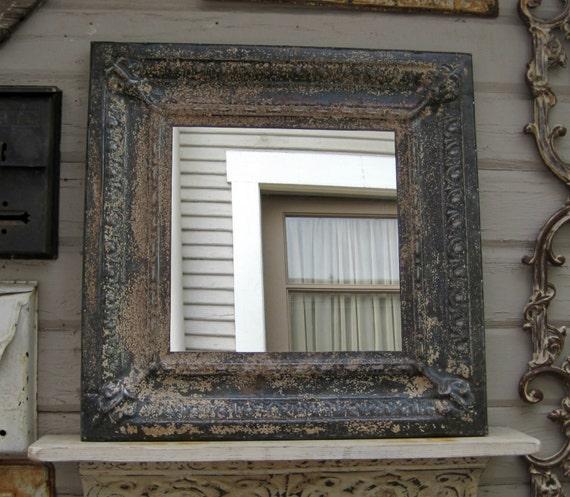 Metal Mirror Antique Ceiling Tin Tile Mirror Circa 1910
