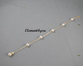 Back drop extension, Low Backdrop, Swarovski Pearls, Wedding jewelry, Ivory White pearls, Bridal backdrop gold filled, add to your necklace