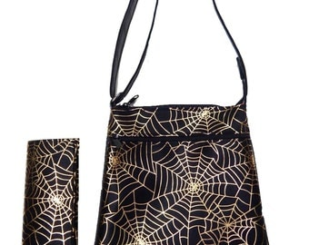 """Cross Body Bag & Matching Wallet With """" SPIDER WEB"""" Gothic Halloween Pattern, New"""