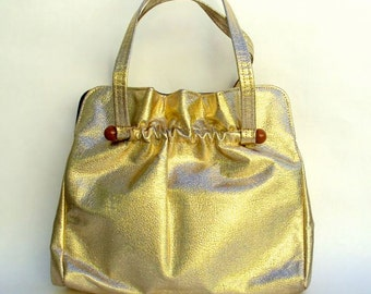 Big Handbag, Gold Lame, Gathered Top on Lucite Bars, Top Handle, Vintage