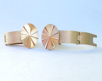 Signed Cuff Links, Gold Tone, Hinged, Wrap Around, Fold Over, Vintage, Wedding