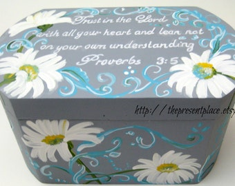 Hand painted promise box,prayer box,gray,grey,white Gerber daisies,turquoise,Gerber daisies,personalized box,gift for women,gift for friends